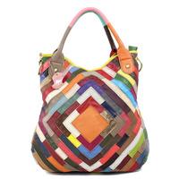 2014 spring and summer handbags leather handbag sheep skin stitching color stripe bag Messenger bag,88065,Free Shipping