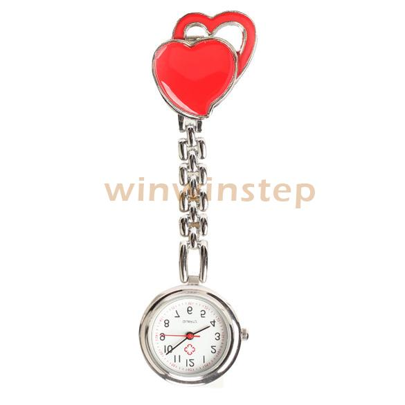 BS#S Sweet Heart Chest Pocket Watch Nurse Table Quartz with Clip Fashion(China (Mainland))