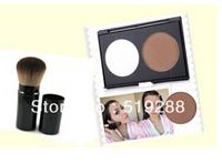 Fashn Concealer 2 Double color Bronzer trimming  powder hihglights powder Make up Face Powder +FREE 1PC Brand MC makeup Brush