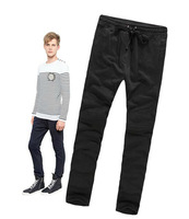 2014 S/S  men's embroidered cotton knitted suede jogging pants casual pants