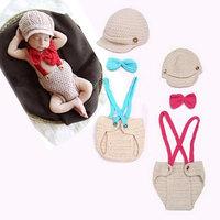 1 Set Newborn Infant Baby Knitted Crochet Photography Props Hat Overalls Costume Gorras Children Winter Hats
