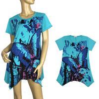 New fashion butterfly print t-shirt short sleeve long plus large XXXL women tops tees loose female t shirt Free Shipping 5223