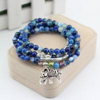 Agate natural crystal bracelet female multilayer blue-veined Buddha elephant tourmaline bracelet Pulseras Pulseiras joyas bijoux