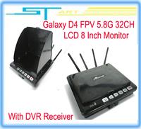 Free shipping hot Galaxy D4 FPV 5.8G 32CH LCD 8 Inch Monitor With DVR Receiver for dji QR 350PRO rc GPS FPV system quadc boy toy