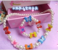 Princess female children's jewelry jewelry handmade necklace suits the butterfly pearl necklace bracelet of the girls