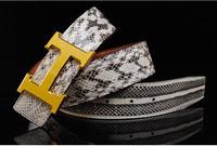 New Arrive Fashion Belt Men's Classic Snakeskin Leather Man Strap Pants Garments Distinguished Luxury Steel Buckle