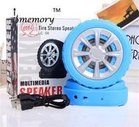 LC-06 Mini Portable Tire Stereo Multimedia Speaker support TF Card MP3 FM Radio free shipping