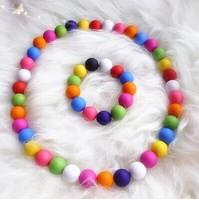 Children necklace paternity suit princess rainbow candy color grind arenaceous bead necklace bracelet sea beach necessary