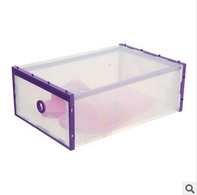 Novas 1pcs / Chegou muito 35x24.5x13.5cm beira roxa transparentes Shoes Box Gaveta afiação Grosso plástico caixa de armazenamento de divisão(China (Mainland))