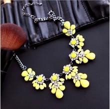 New Fashion Bib Choker Necklace Fluorescence Yellow Colors Crystal Gem Flower Drop Necklaces & Pendants For Women XL-288