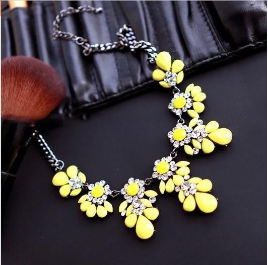 AliExpress.com Product - New Fashion Bib Choker Necklace Fluorescence Yellow Colors Crystal Gem Flower Drop Necklaces & Pendants For Women XL-288