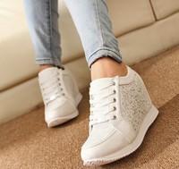 2014 women Hidden Wedge Heels shoes Fashion Women's Elevator ankle boots causal Sneaker Sports Rhinestone Shoes 5A103