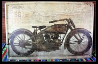 Accept mixed order!Retro Motorcycle painting U.S route 66 Tin Sign Bar pub home Wall Decor Retro Metal Art Poster  K-45 20*30CM