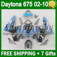 7gifts For TRIUMPH  Blue black 02-10 02 03 04 05 06 9F164 Daytona 675 07 08 09 10 NEW Blue blk 2002 2006 2007 2008 2010 Fairings
