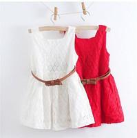 Summer dress 2014 teenage girls Korean style lace vest dress kids flower princess dresses with belt