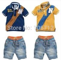 2014 Next clothes hot New hot kids boys summer clothes sets children Short sleeve T-shirt+short jeans clothing Sets