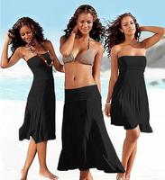 2014 New Hot Women's Beach Dress Three Wear ways Long Solid 11 colors dress S M L XL Free Shipping