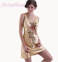 free shipping summer strap plus size faux silk sexy nighgowns