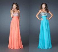 Long Evening Dress 2014 New Style 2014 V-Neck Sequined Long Chiffon Sleeveless Elegant Sexy Prom Dresses Long Evening Dresses