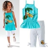 summer 2014 children's clothing set wholesale kids girls leisure cotton suit Strap t-shirt + breeches 5sets/lot