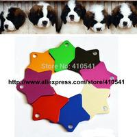 HOT Selling Free Shipping Mix Colors 20 Pcs/ Lot 36MM*36MM Custom Aluminum Alloy Star Shape Charm Pet ID Tags Dog tags