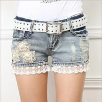 New 2014 Women Shorts Femininos Fashion Lady's Denim Lace Shorts Jeans Ripped Hole Vintage Hot Pants YS8048