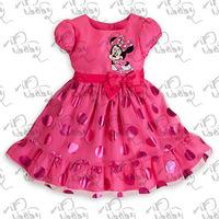 Free shipping 2014 kids girl summer dress  princess baby dress children's cartoon minnie Dot bow  dress
