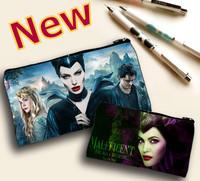 New 23cm Maleficent Pencil Bag Angelina Jolie Pen Bag 2 Side Print Cartoon Pen Bag