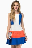 french flag colors red white and blue stitch back zipper sleeveless woman summer dress for wholesale and free shipping haoduoyi