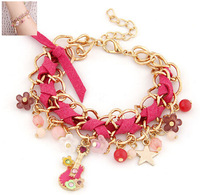 2014 Top Selling Fashion Chunky Jewelry  Rhinestone And Enamel Flower  bracelets And Bangeles  For Women #ftchen_10100913