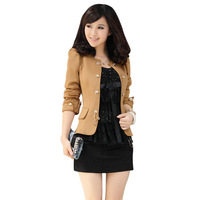 2014 fashioanl plus size women short coat Korean slim solid color bow decoration double breasted puff sleeves women jacket 1211