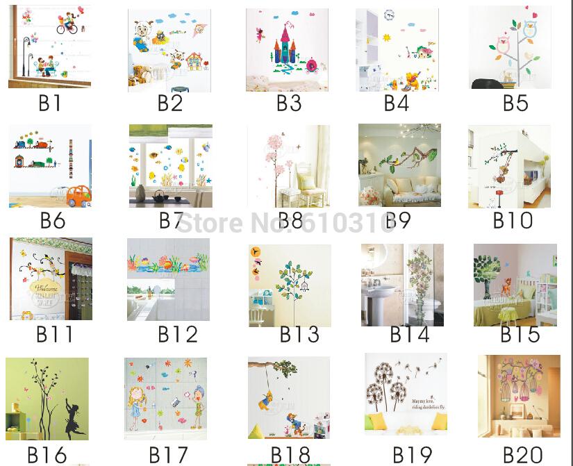 Fiore autoadesivo della parete/molti stili di adesivi le impostazione camera da letto adesivi murali 45*65cm( 1piece/lotto)