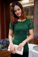 YT009,2014 New Fashion Summer Korean Flowers Hollow Out Lace Blouse Short Sleeve Woman Dress Lady Dresses Free Shipping