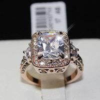 Fashion 18K GP Crystal Engagement Cusion 3 Stone Ring R723 Free Shipping