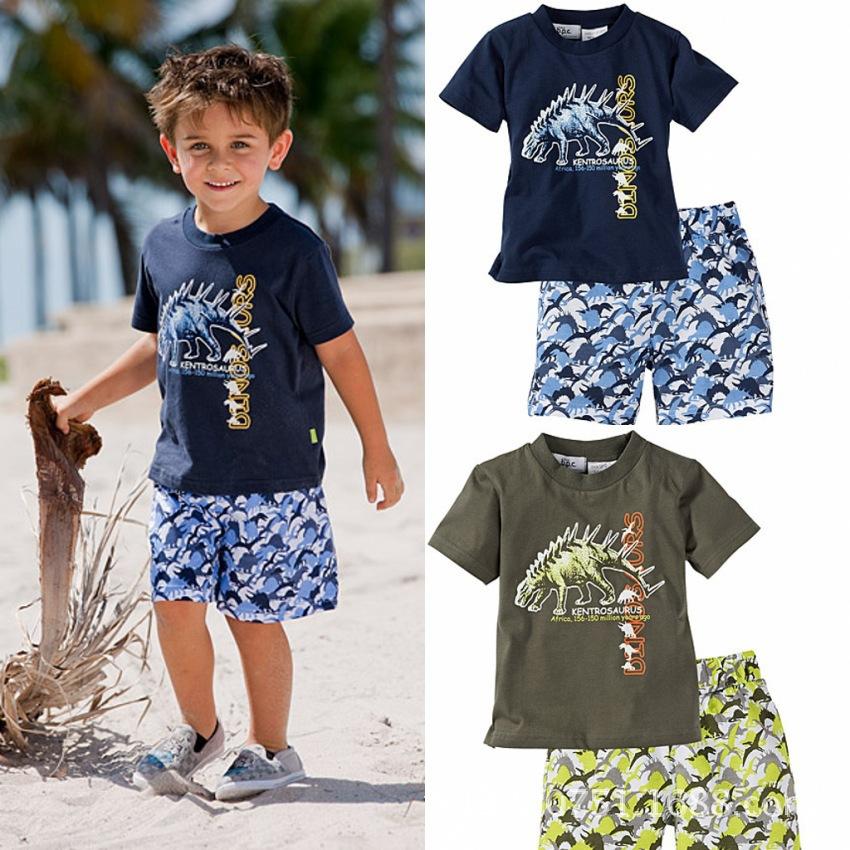 Free Shipping Boys Beach Clothes Sets T-shirt+Shorts 2pcs Summer Children Boy Clothing Set Cartoon Kid Boys Sets Retail(China (Mainland))