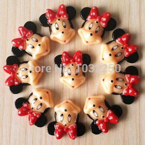 500 pçs/lote Minnie Mouse Red Bow resina cabochão Flatbacks plano voltar Scrapbooking arco de cabelo centro de artesanato enfeites DIY BXT152(China (Mainland))