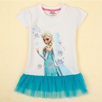 Wholesale Frozen dress girl kids summer cartoon dress frozen princess cotton baby girl dress kids t shirt 2-6t 5pcs/Lot