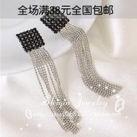 new Ladies square black rhinestone long design beads tassel stud  earrings