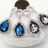 Sparkling rhinestone double drop personality the queen sweet crystal stud earrings female
