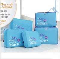 Free Shipping High Quality Fashion 5 Piece Cloth Storage Bags 4 Colors Organizer Set Bags in Bag for Traveling