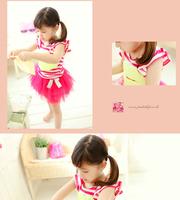Ready stock!! / 2014 new kids set children's clothing summer girl child set big butterfly short vest tee  ATZ023