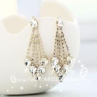 new Personalized sparkling precious stone  crystal acrylic rhinestone bohemia tassel pendant stud earrings