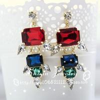 new Fashion personality punk fashion multicolour acrylic rivet stud earrings accessories