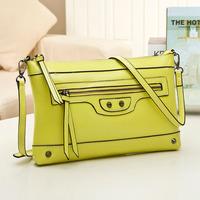 2014 new fashion rivet  genuine leather motorcycle  bag  women quality  shoulder bag messenger bag clutch bag coin purse