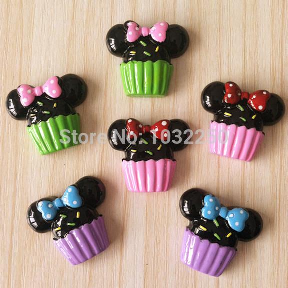 Lote 500 pcs 3 cores Cupcake Minnie Mouse Bow resina Flatbacks plano voltar Scrapbooking arco de cabelo centro de artesanato Deco fazer DIY(China (Mainland))