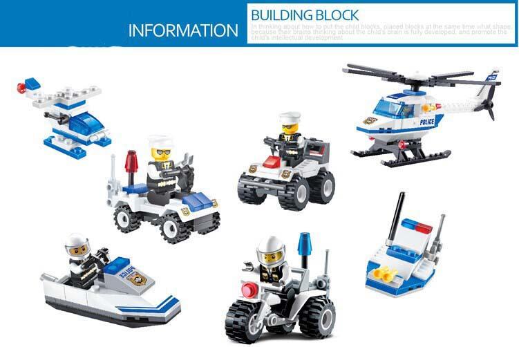 Aydınlatmak blok yapı taşları set 3d simcity polis tuğla
