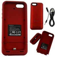 Backup External Battery Charger Case 2100mAh for iPhone 5 5G 5S Power Bank,Red plastic Designer Cell Phones Accessories