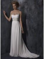 Nice Sheath/Column Spaghetti Straps Chiffon Wedding Dress