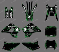 0462 METAL SKULL TEAM GRAPHICS & BACKGROUNDS DECALS STICKERS Kits fit for Kawasaki KDX200 KDX220 1995-2008 2 strokes