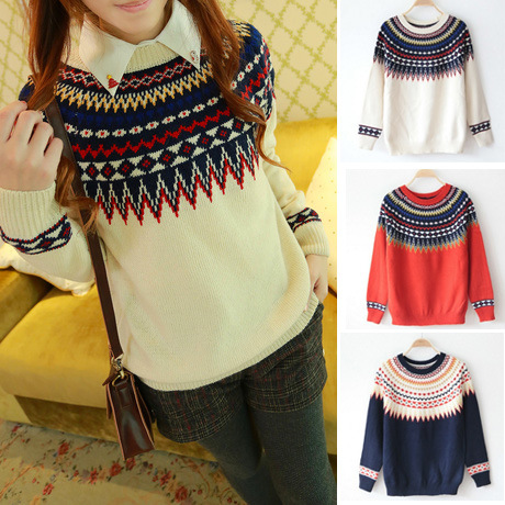 free drop shipping College style new winter print round neck sweater, loose woman pullover sweater,L0700(China (Mainland))